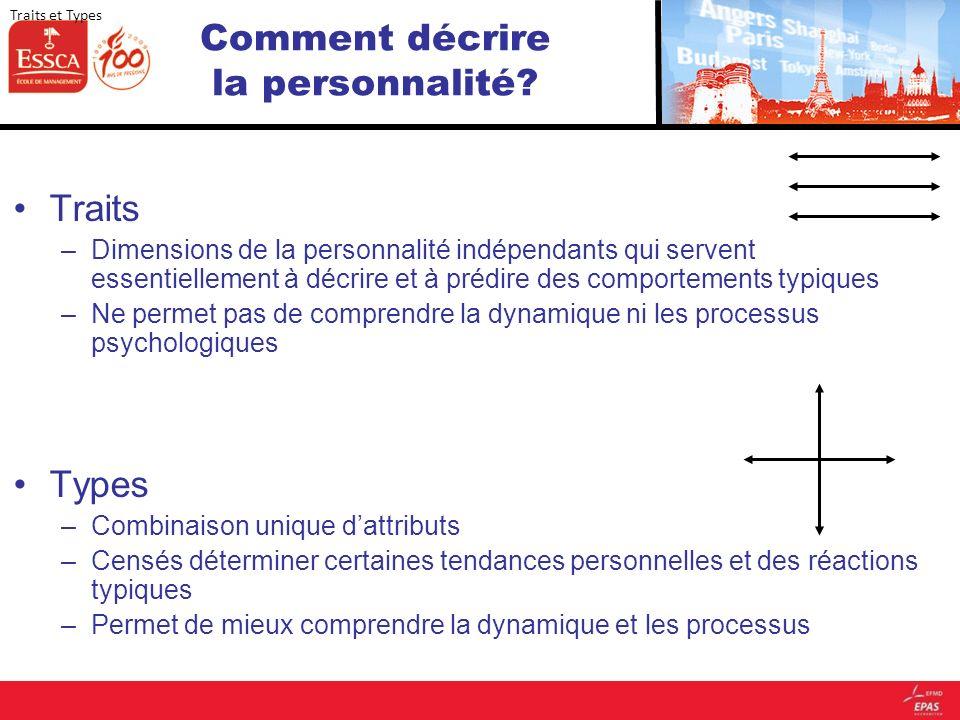 Comment décrire la personnalité? Traits –Dimensions de la personnalité indépendants qui servent essentiellement à décrire et à prédire des comportemen