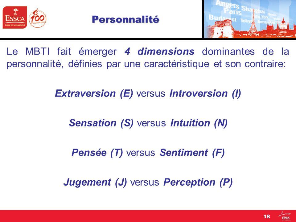 Personnalité Le MBTI fait émerger 4 dimensions dominantes de la personnalité, définies par une caractéristique et son contraire: Extraversion (E) vers