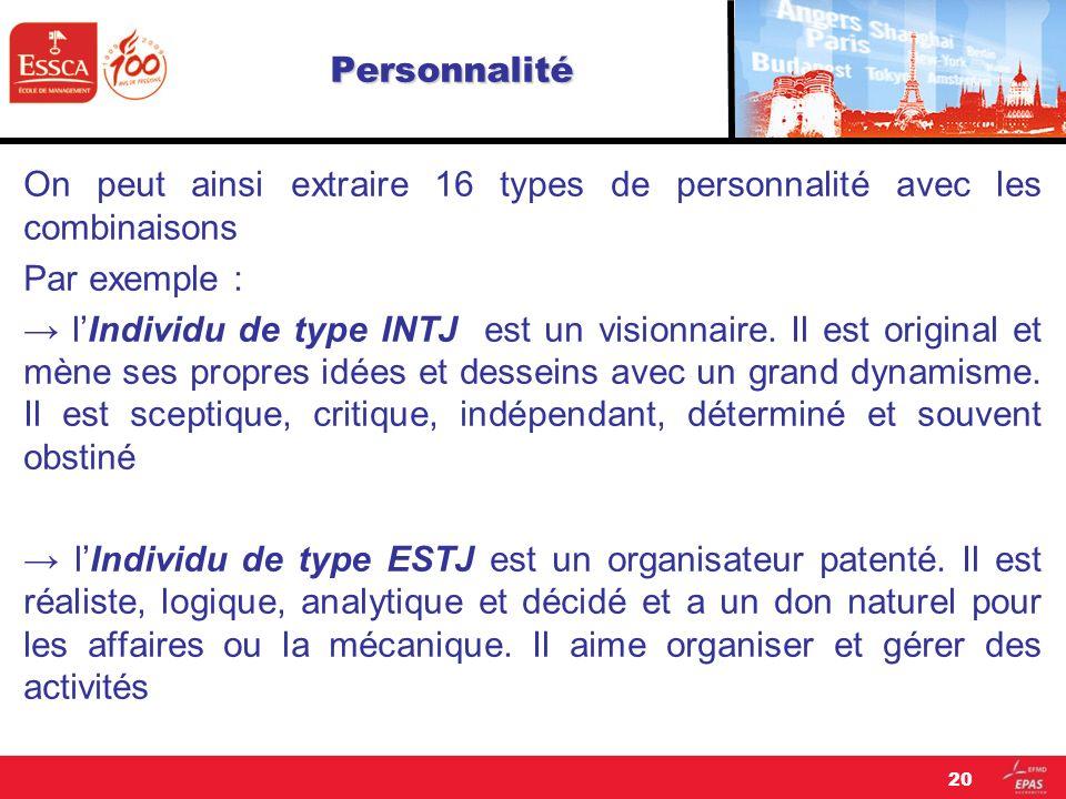 Personnalité On peut ainsi extraire 16 types de personnalité avec les combinaisons Par exemple : lIndividu de type INTJ est un visionnaire. Il est ori