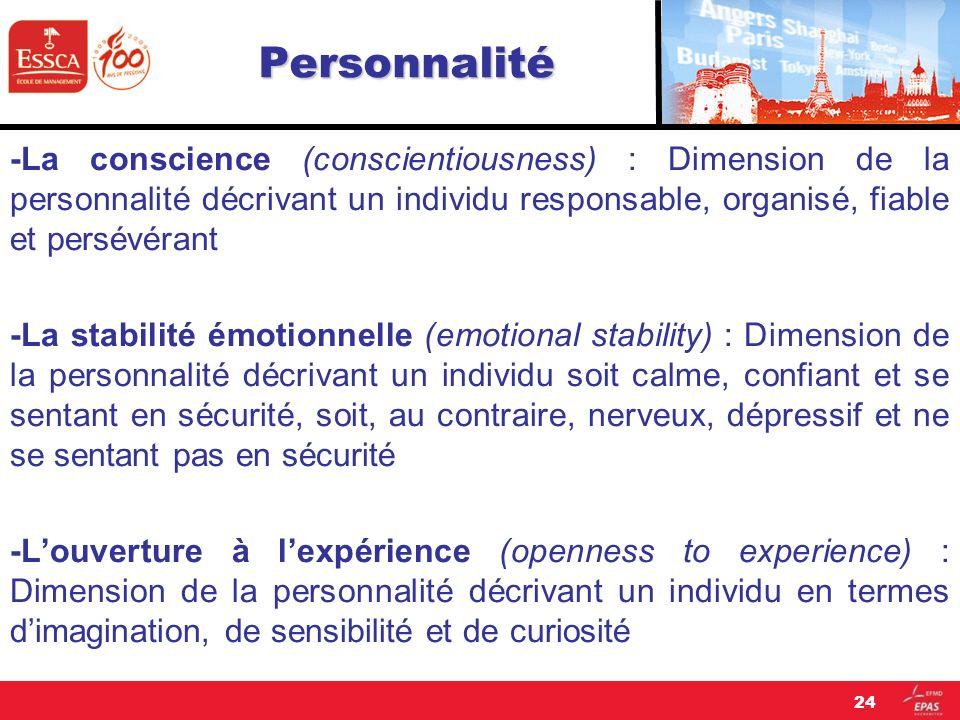 Personnalité -La conscience (conscientiousness) : Dimension de la personnalité décrivant un individu responsable, organisé, fiable et persévérant -La