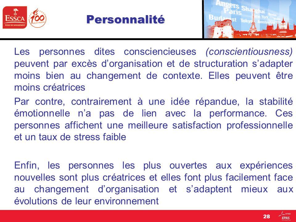 Personnalité 28 Les personnes dites consciencieuses (conscientiousness) peuvent par excès dorganisation et de structuration sadapter moins bien au cha