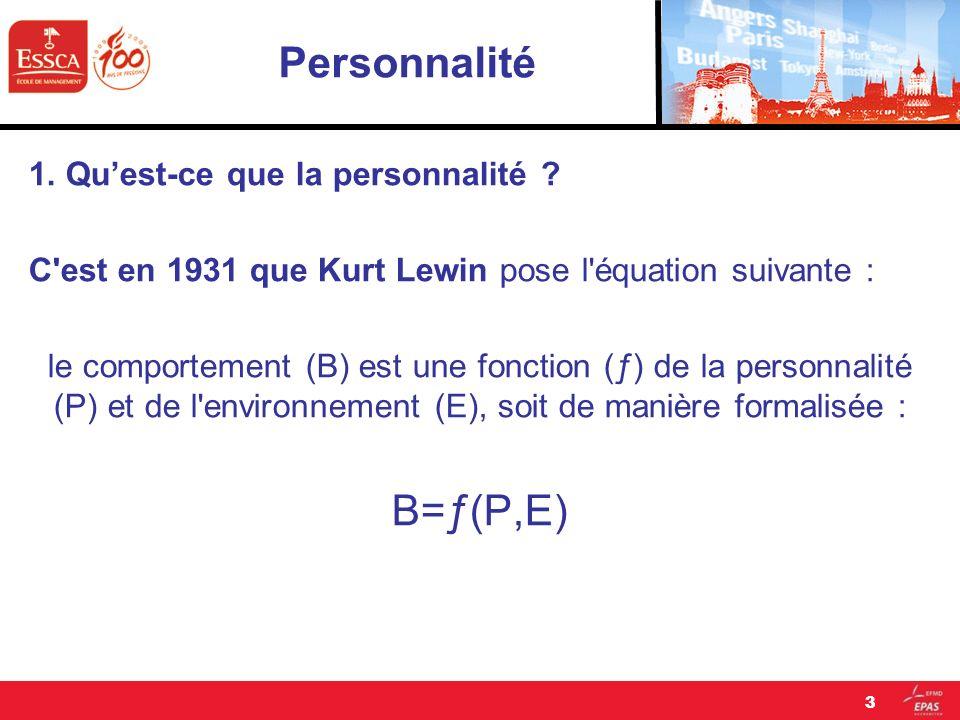 Personnalité 1. Quest-ce que la personnalité ? C'est en 1931 que Kurt Lewin pose l'équation suivante : le comportement (B) est une fonction (ƒ) de la