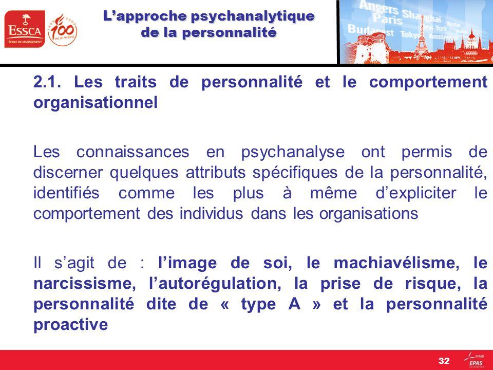 Lapproche psychanalytique de la personnalité 2.1. Les traits de personnalité et le comportement organisationnel Les connaissances en psychanalyse ont