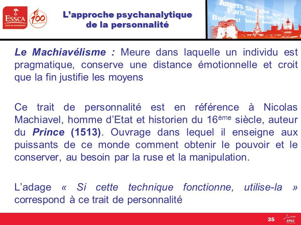 Lapproche psychanalytique de la personnalité Le Machiavélisme : Meure dans laquelle un individu est pragmatique, conserve une distance émotionnelle et