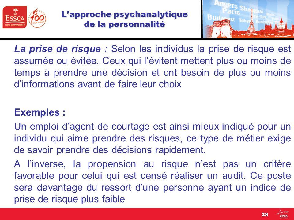 Lapproche psychanalytique de la personnalité La prise de risque : Selon les individus la prise de risque est assumée ou évitée. Ceux qui lévitent mett