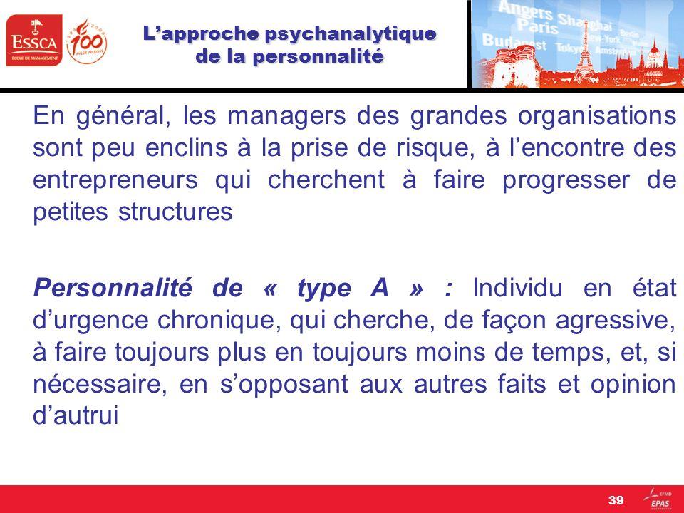 Lapproche psychanalytique de la personnalité En général, les managers des grandes organisations sont peu enclins à la prise de risque, à lencontre des