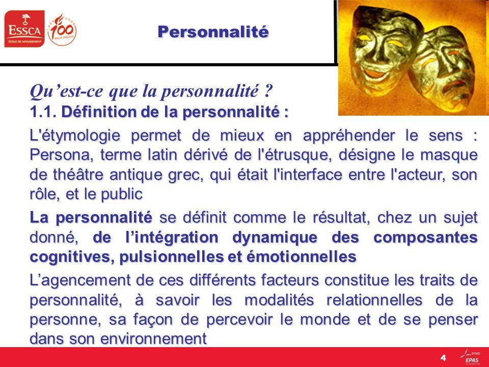 Personnalité Personnalité Quest-ce que la personnalité ? Définition de la personnalité : 1.1. Définition de la personnalité : L'étymologie permet de m