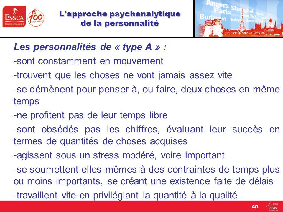 Lapproche psychanalytique de la personnalité Les personnalités de « type A » : -sont constamment en mouvement -trouvent que les choses ne vont jamais