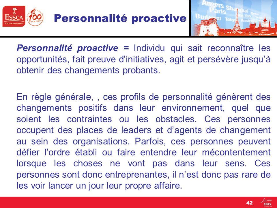 Personnalité proactive Personnalité proactive = Individu qui sait reconnaître les opportunités, fait preuve dinitiatives, agit et persévère jusquà obt