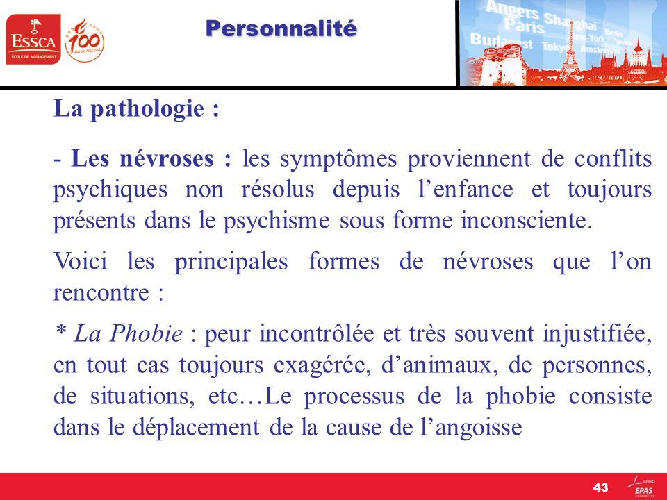 Personnalité La pathologie : - Les névroses : les symptômes proviennent de conflits psychiques non résolus depuis lenfance et toujours présents dans l