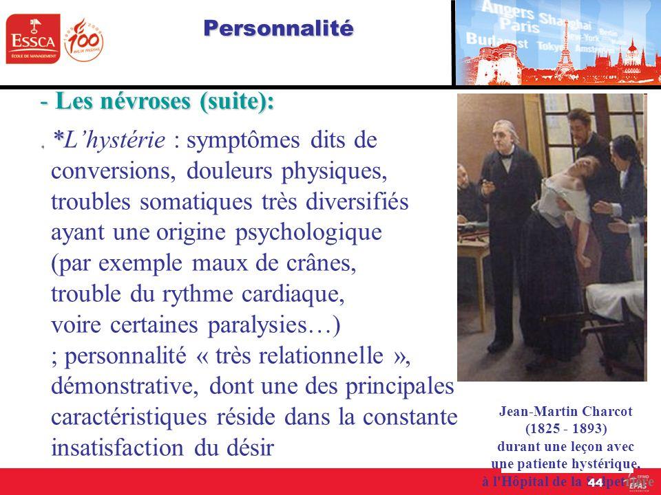 Personnalité - Les névroses (suite):. * *Lhystérie : symptômes dits de conversions, douleurs physiques, troubles somatiques très diversifiés ayant une