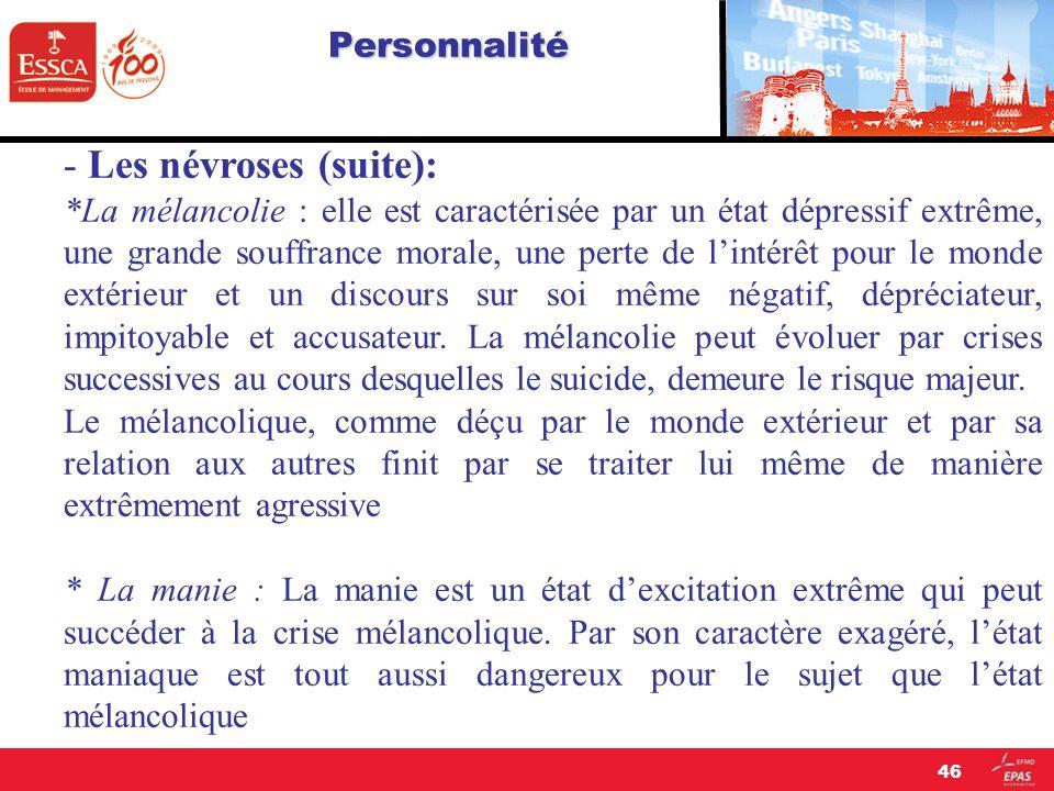Personnalité - Les névroses (suite): *La mélancolie : elle est caractérisée par un état dépressif extrême, une grande souffrance morale, une perte de