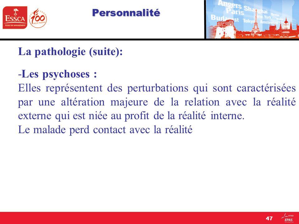 Personnalité La pathologie (suite): -Les psychoses : Elles représentent des perturbations qui sont caractérisées par une altération majeure de la rela