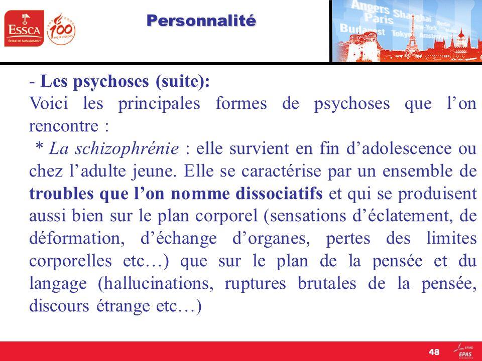 Personnalité - Les psychoses (suite): Voici les principales formes de psychoses que lon rencontre : * La schizophrénie : elle survient en fin dadolesc