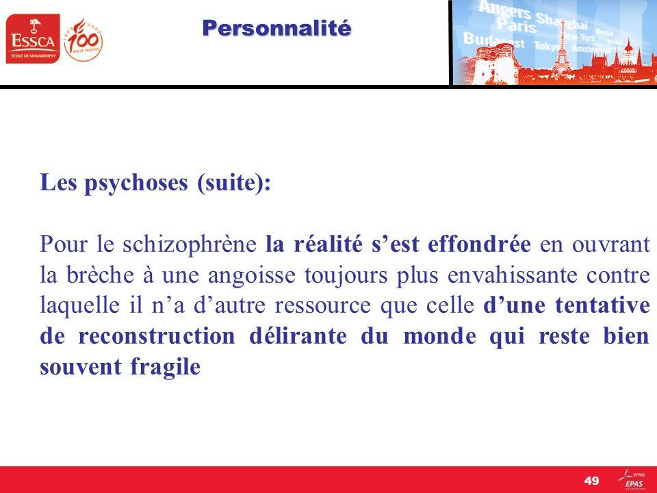 Personnalité Les psychoses (suite): Pour le schizophrène la réalité sest effondrée en ouvrant la brèche à une angoisse toujours plus envahissante cont