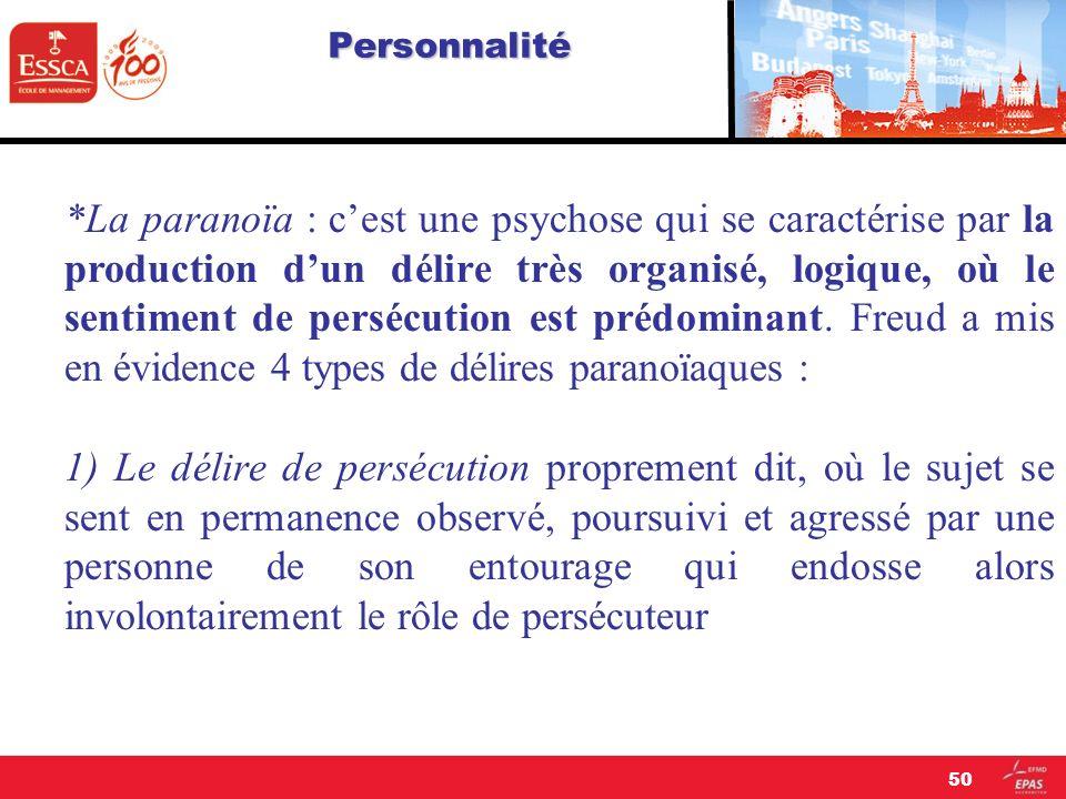 Personnalité *La paranoïa : cest une psychose qui se caractérise par la production dun délire très organisé, logique, où le sentiment de persécution e