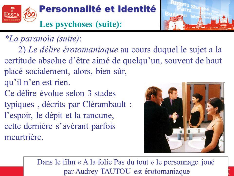 Personnalité et Identité - Les psychoses (suite): *La paranoïa (suite): 2) Le délire érotomaniaque au cours duquel le sujet a la certitude absolue dêt