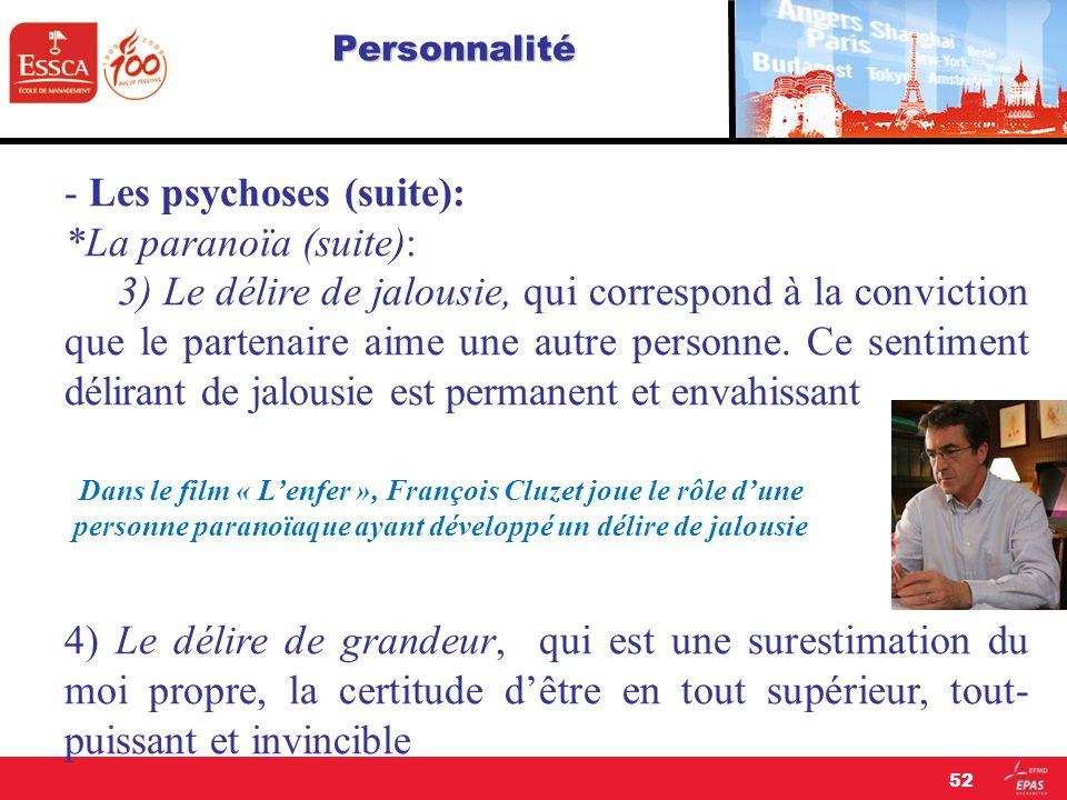 Personnalité - Les psychoses (suite): *La paranoïa (suite): 3) Le délire de jalousie, qui correspond à la conviction que le partenaire aime une autre