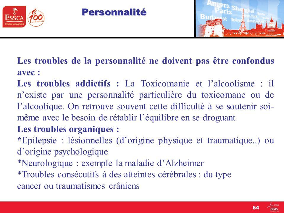 Personnalité Les troubles de la personnalité ne doivent pas être confondus avec : Les troubles addictifs : La Toxicomanie et lalcoolisme : il nexiste
