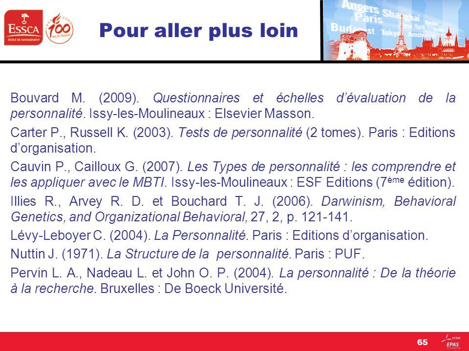 Pour aller plus loin Bouvard M. (2009). Questionnaires et échelles dévaluation de la personnalité. Issy-les-Moulineaux : Elsevier Masson. Carter P., R