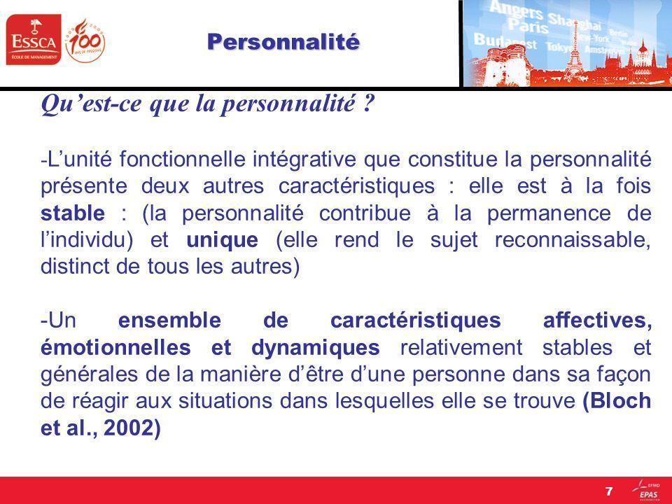 Personnalité Quest-ce que la personnalité ? - Lunité fonctionnelle intégrative que constitue la personnalité présente deux autres caractéristiques : e
