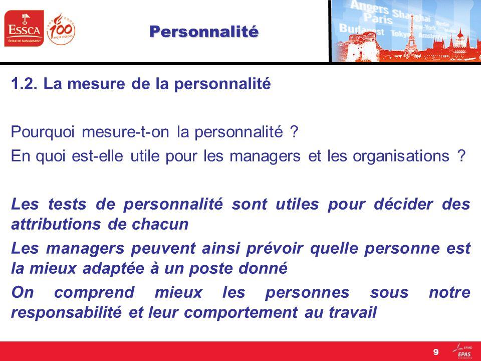 Personnalité 1.2. La mesure de la personnalité Pourquoi mesure-t-on la personnalité ? En quoi est-elle utile pour les managers et les organisations ?