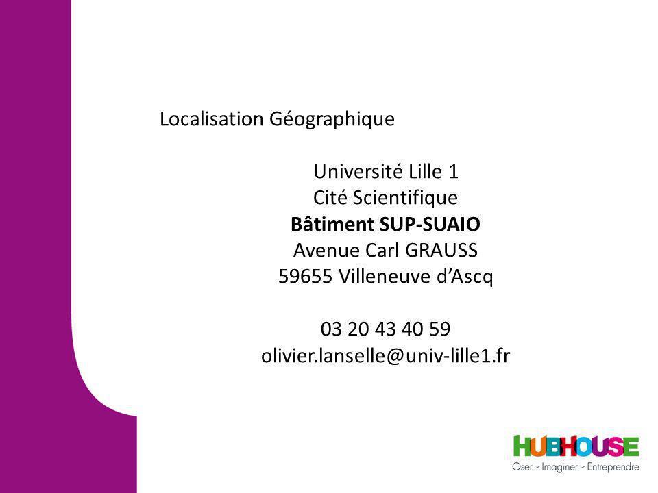 Localisation Géographique Université Lille 1 Cité Scientifique Bâtiment SUP-SUAIO Avenue Carl GRAUSS 59655 Villeneuve dAscq 03 20 43 40 59 olivier.lanselle@univ-lille1.fr