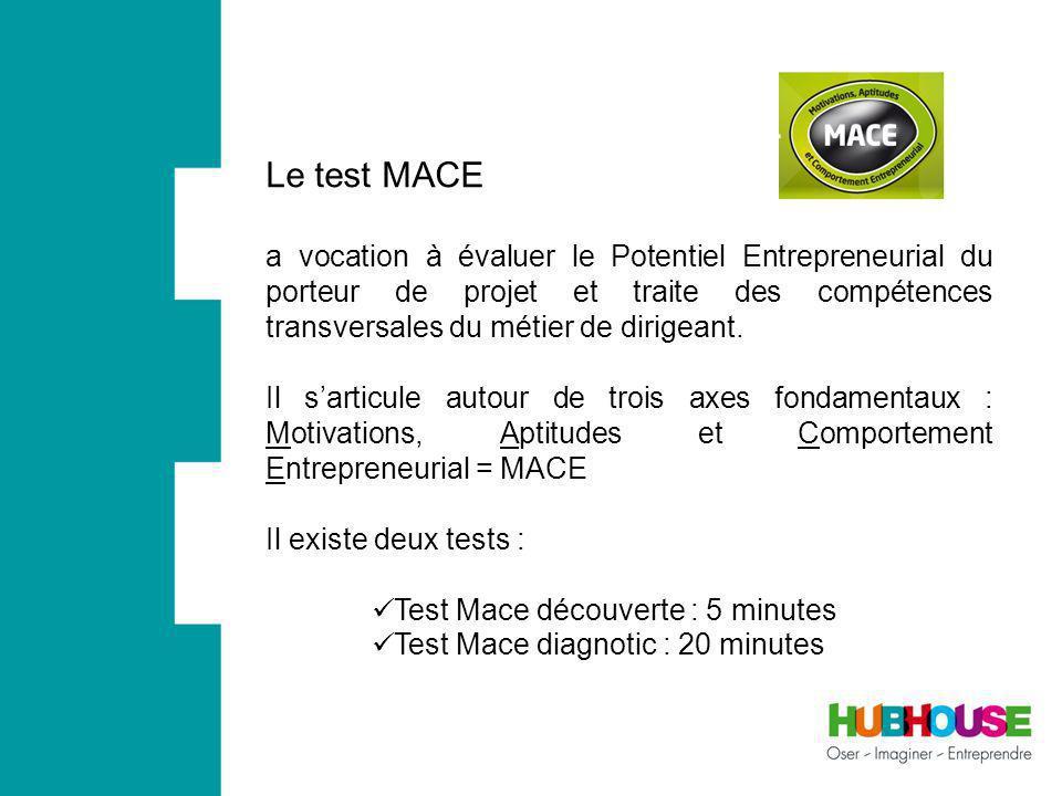 Le test MACE a vocation à évaluer le Potentiel Entrepreneurial du porteur de projet et traite des compétences transversales du métier de dirigeant.