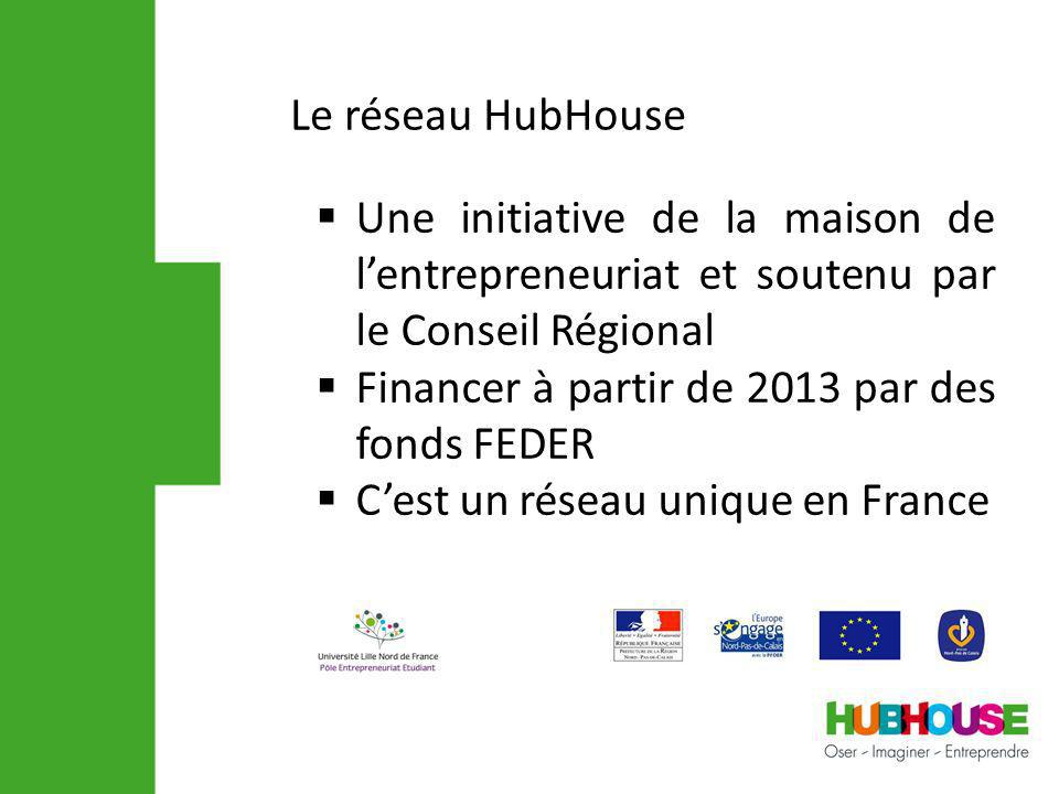 Une initiative de la maison de lentrepreneuriat et soutenu par le Conseil Régional Financer à partir de 2013 par des fonds FEDER Cest un réseau unique en France Le réseau HubHouse