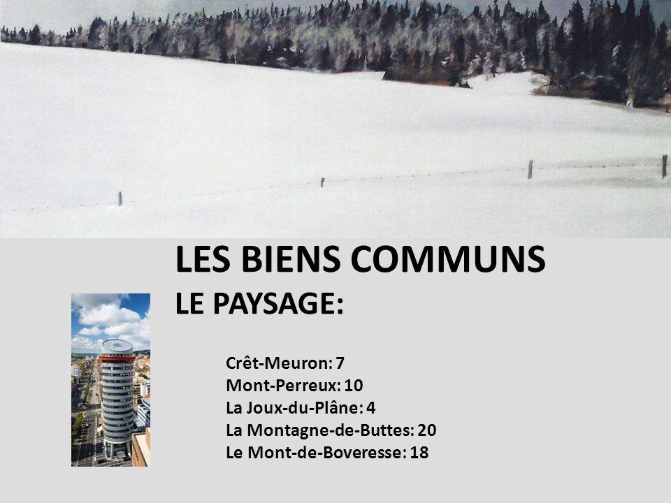 Crêt-Meuron: 7 Mont-Perreux: 10 La Joux-du-Plâne: 4 La Montagne-de-Buttes: 20 Le Mont-de-Boveresse: 18 LES BIENS COMMUNS LE PAYSAGE: