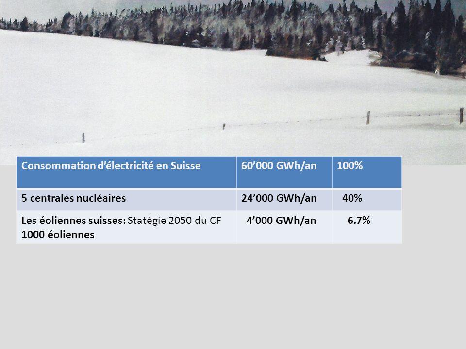 Consommation délectricité en Suisse60000 GWh/an100% 5 centrales nucléaires24000 GWh/an 40% Les éoliennes suisses: Statégie 2050 du CF 1000 éoliennes 4000 GWh/an 6.7%