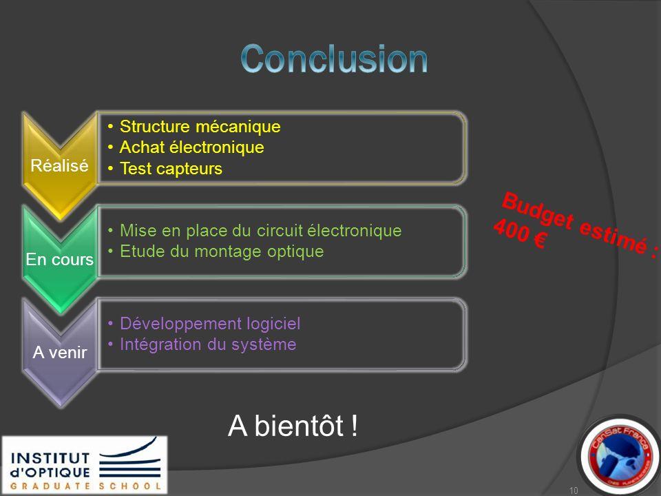 Réalisé Structure mécanique Achat électronique Test capteurs En cours Mise en place du circuit électronique Etude du montage optique A venir Développe