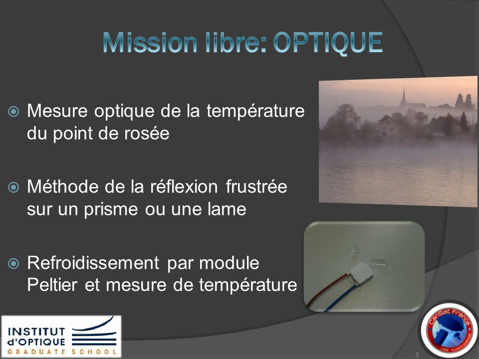 Détecteur fibré Condensation Prisme >41°(sans condensation) réflexion totale Source de lumière collimatée fibrée >63° (eau sur la face) réfraction 45° 53° n1=1,5 6
