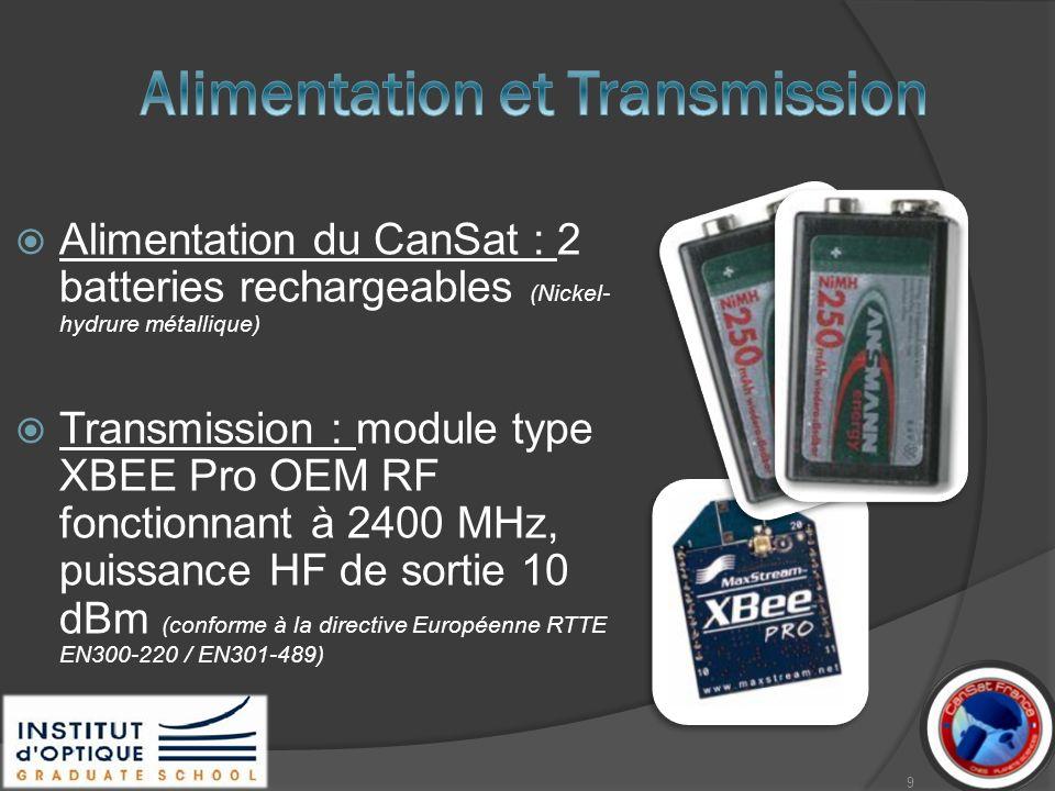 Alimentation du CanSat : 2 batteries rechargeables (Nickel- hydrure métallique) Transmission : module type XBEE Pro OEM RF fonctionnant à 2400 MHz, pu