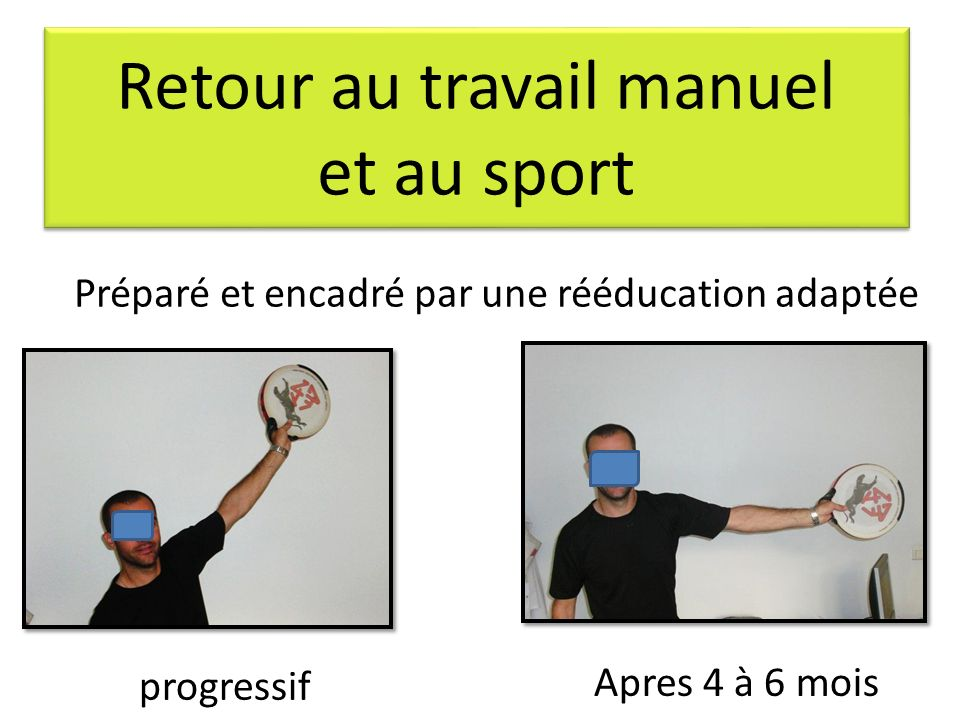 Retour au travail manuel et au sport progressif Apres 4 à 6 mois Préparé et encadré par une rééducation adaptée