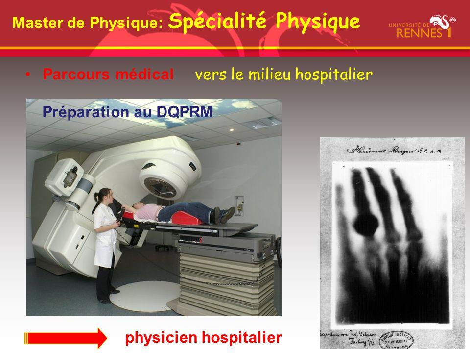 Master de Physique: Spécialité Physique Parcours médical vers le milieu hospitalier Préparation au DQPRM physicien hospitalier