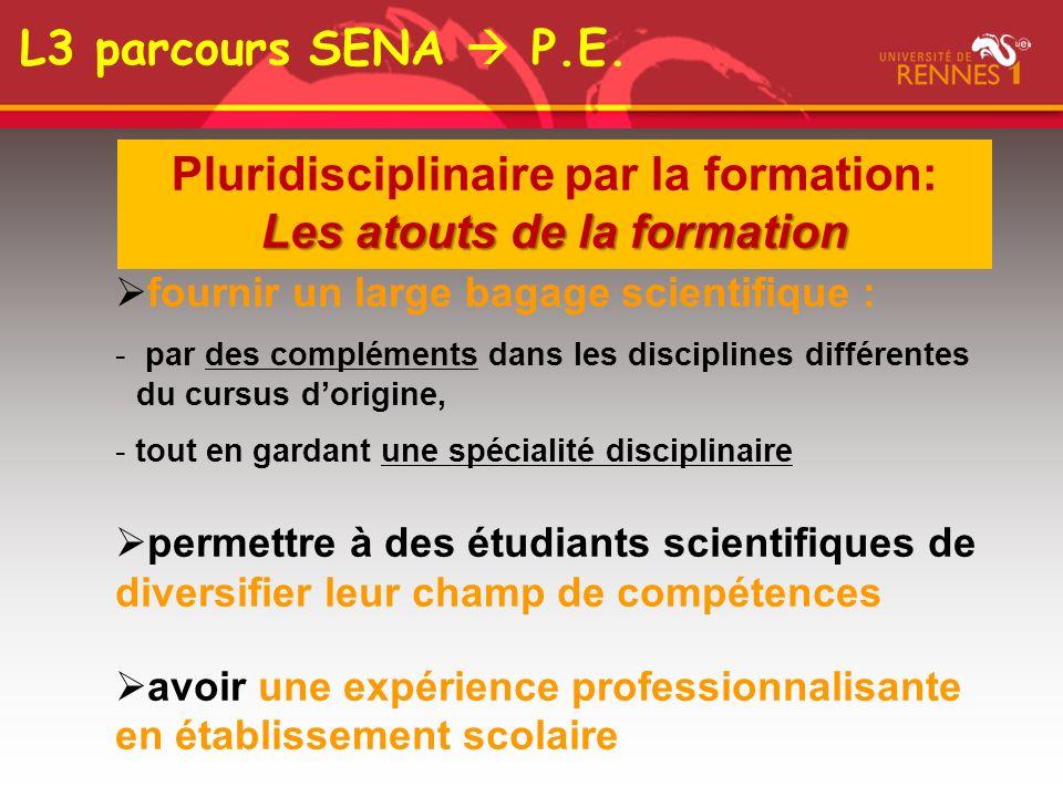 Pluridisciplinaire par la formation: Les atouts de la formation fournir un large bagage scientifique : - par des compléments dans les disciplines diff