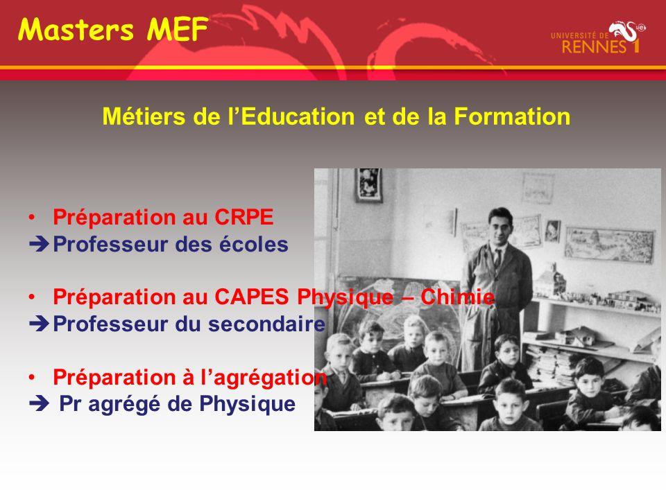 Masters MEF Métiers de lEducation et de la Formation Préparation au CRPE Professeur des écoles Préparation au CAPES Physique – Chimie Professeur du secondaire Préparation à lagrégation Pr agrégé de Physique