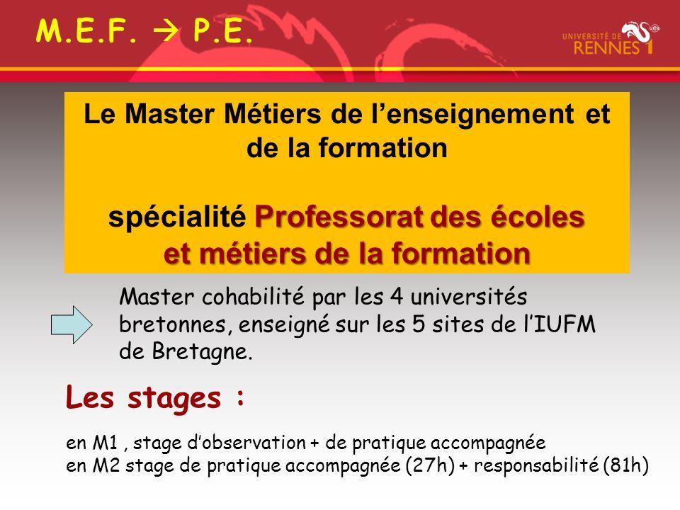 Professorat des écoles Le Master Métiers de lenseignement et de la formation spécialité Professorat des écoles et métiers de la formation Master cohabilité par les 4 universités bretonnes, enseigné sur les 5 sites de lIUFM de Bretagne.