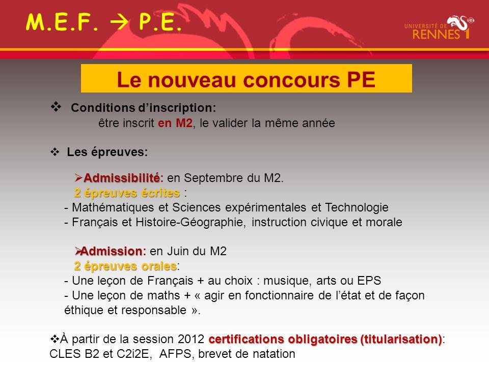 Conditions dinscription: être inscrit en M2, le valider la même année Les épreuves: Admissibilité Admissibilité: en Septembre du M2.