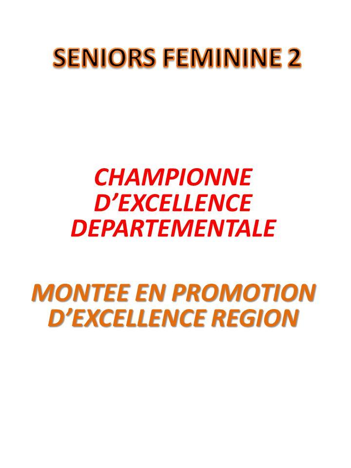 CHAMPIONNE DEXCELLENCE DEPARTEMENTALE MONTEE EN PROMOTION DEXCELLENCE REGION