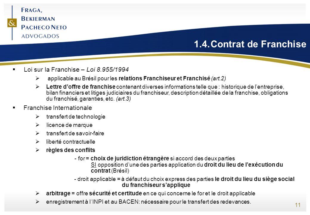 11 1.4.Contrat de Franchise Loi sur la Franchise – Loi 8.955/1994 applicable au Brésil pour les relations Franchiseur et Franchisé (art.2) Lettre doff