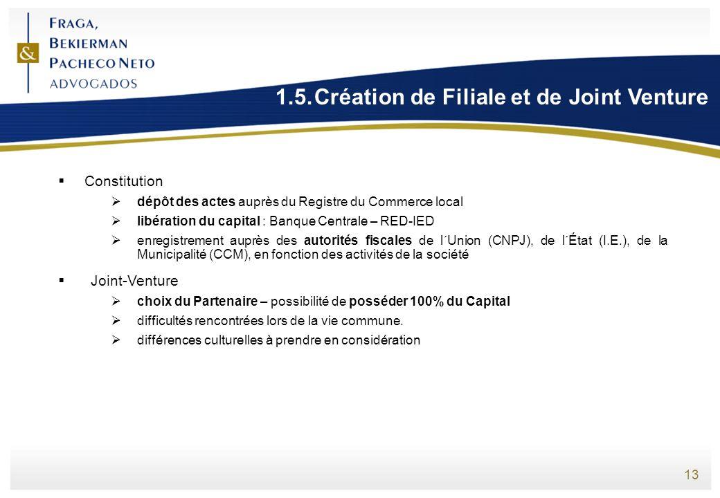 13 1.5.Création de Filiale et de Joint Venture Constitution dépôt des actes auprès du Registre du Commerce local libération du capital : Banque Centra