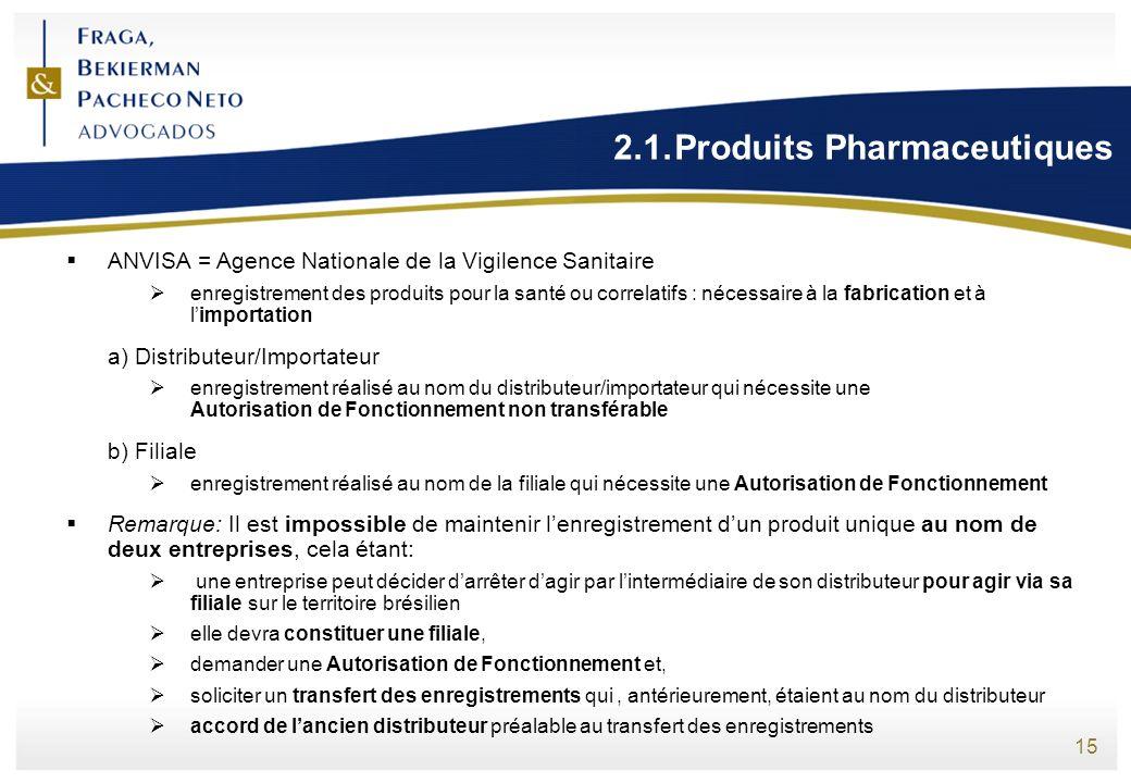 15 2.1.Produits Pharmaceutiques ANVISA = Agence Nationale de la Vigilence Sanitaire enregistrement des produits pour la santé ou correlatifs : nécessa