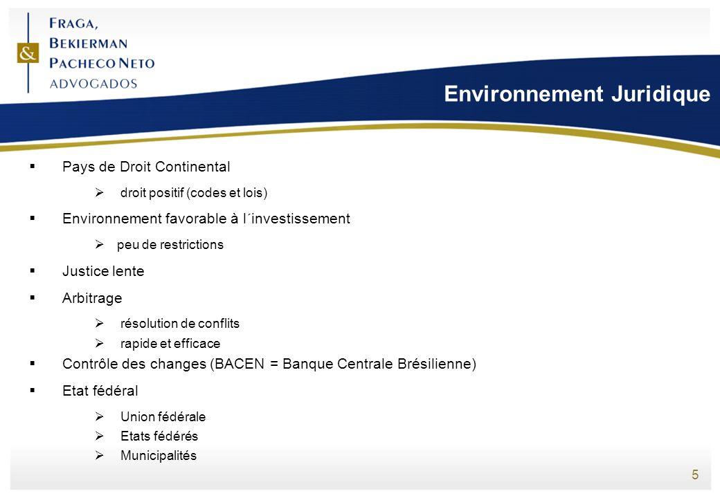 5 Environnement Juridique Pays de Droit Continental droit positif (codes et lois) Environnement favorable à l´investissement peu de restrictions Justi