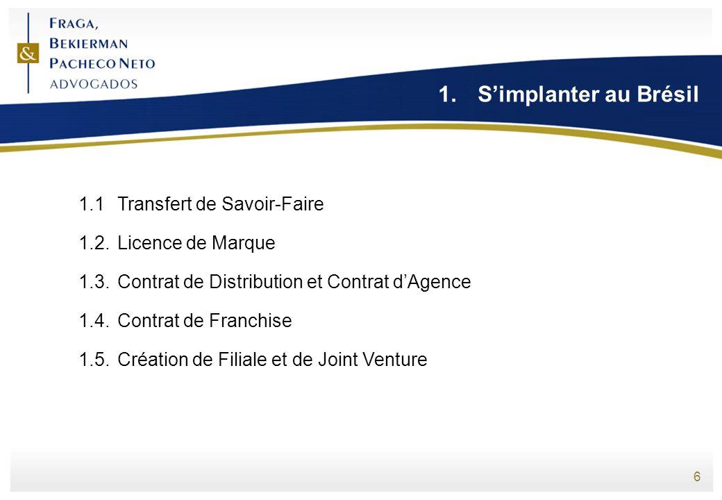 6 1.Simplanter au Brésil 1.1Transfert de Savoir-Faire 1.2.Licence de Marque 1.3.Contrat de Distribution et Contrat dAgence 1.4.Contrat de Franchise 1.