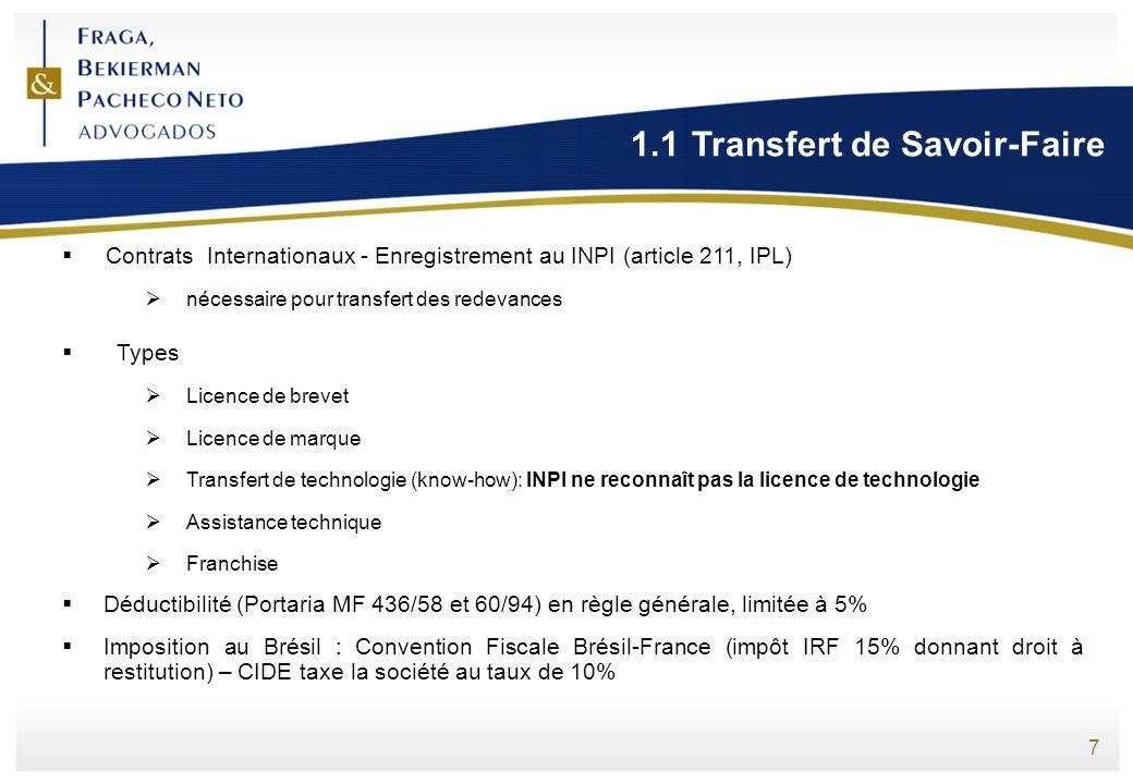 7 1.1Transfert de Savoir-Faire Contrats Internationaux - Enregistrement au INPI (article 211, IPL) nécessaire pour transfert des redevances Types Lice