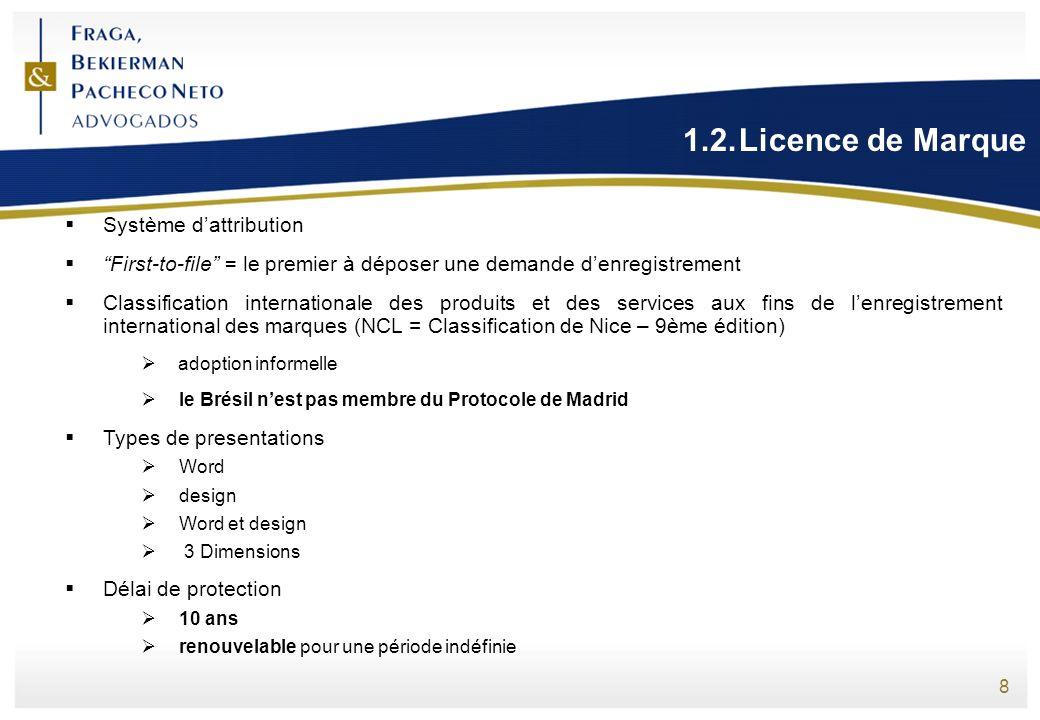 8 1.2.Licence de Marque Système dattribution First-to-file = le premier à déposer une demande denregistrement Classification internationale des produi