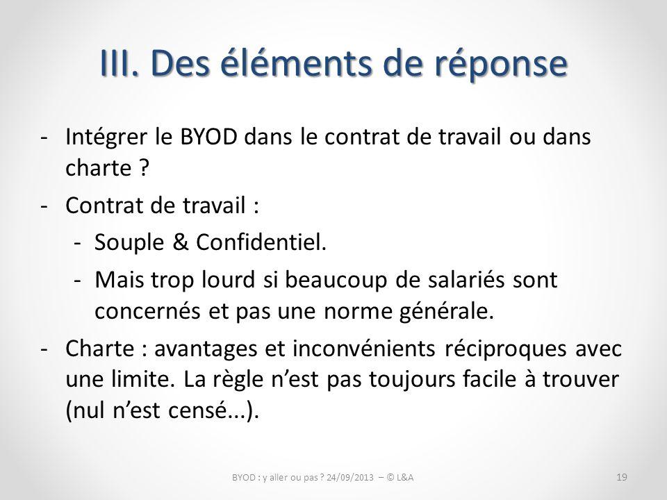 -Intégrer le BYOD dans le contrat de travail ou dans charte .