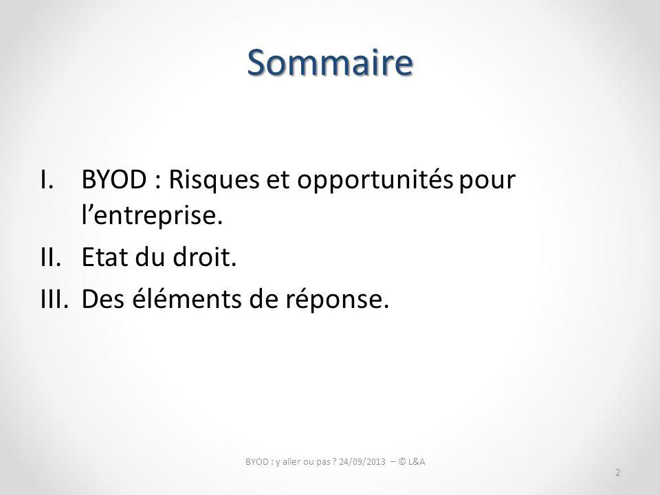 Sommaire I.BYOD : Risques et opportunités pour lentreprise.